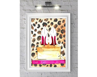 Fashion Illustration Watercolor Painting Print 'Shoe Box Society' -- Home/office decor and wall art, Fashion prints Leopard shoes