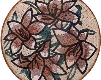 Flower Medallion Mosaic Tile Rugs