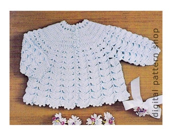 Baby Crochet Pattern Round Yoke Sweater Baby Matinee Jacket Crochet Pattern PDF Instant Download C117