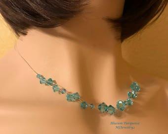 Illusion Necklace: Swarovski Turquoise Crystals