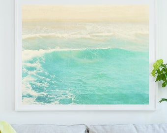 framed beach print, beach photography, aqua blue decor, water print, ocean wave photo, framed art, beach house decor, California wall art