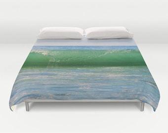 WAVE Duvet Cover, Made to Order, Ocean Wave Bedding, Decorative, Fantasy Bedding,Comforter Cover,Bedroom,Ocean Green Blue Duvet Cover, Water