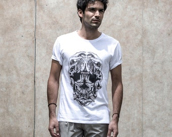T-shirt • HANDS skull memento mori (white) - Collection limited-