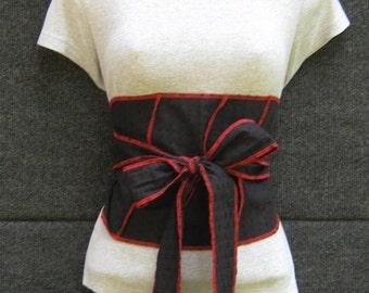 Black and Red Obi Belt