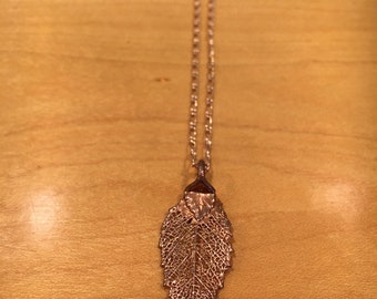 Rose Gold Dipped Leaf Pendant Necklace