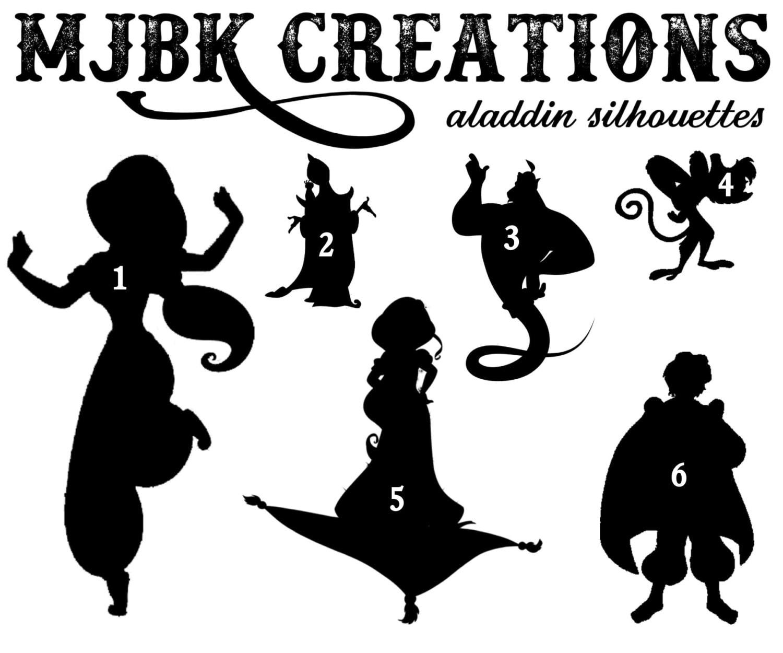 Aladdin Jasmine Genie Abu Magic Carpet Jafar Silhouette Vinyl for Genie Silhouette  66pct