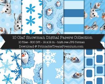 Olaf Snowman Digital Papers