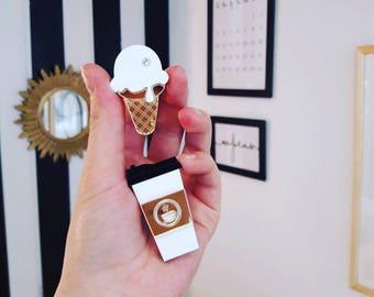 Ice cream little brooch - Ice cream Laser Cut - Ice cream Acrylic Brooch - Children brooches - Plexiglas - Handmade - Barnaul