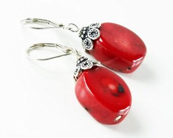 Red Bamboo Coral Earrings, Sterling Silver, red gemstone earrings, original artisan earrings, statement earrings, holiday gift for her, 2861