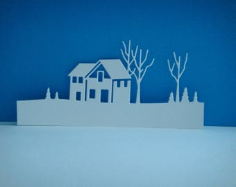 Cut out House with its white for scrapbooking and card