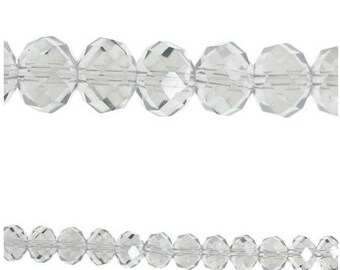 10 x beads glass Rondelle faceted (Abacus) 8x6mm CRYSTAL