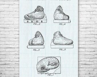 Jabba the Hutt Poster Patent Art Print Gift, Star, Wars, Jedi, Empire, Darth, Vader, Skywalker, Patent Print, Patent Poster, Wall Art