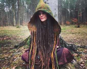 The 'Goblin Soup' Fantasy Hood, Witch Hat, Faerie Bonnet, Tie Dyed in Earthy Hues with Tendrils and Braids