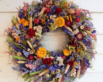"Dried Flower Wreath, ""Nature's Treasures"" Spring Wreath, Year Round Wreath, Door Wreath, Flower Wreath, Centerpiece, Candle Ring"