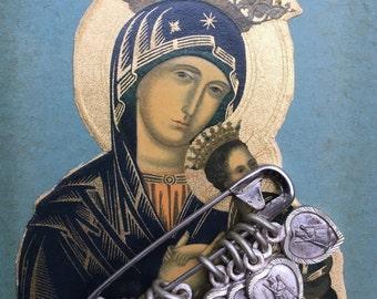 Vintage French Madonna Holy Medal