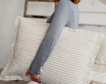 Linen pillow sham. Linen sham. Linen cover. Bed linen sham. Stone washed linen sham pillow case. Striped linen bedding. Soft pillow sham.