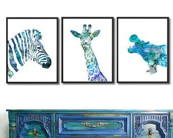 Blue nursery animal print, watercolor animal, animal art print, zebra giraffe hippo, blue decor, baby boy art, kids animal -  S14