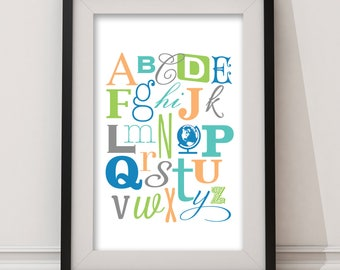 Baby Alphabet Nursery Wall Art, Nursery Decor, Baby ABCs