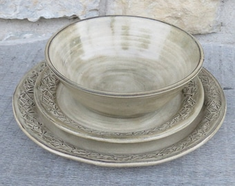 Pottery dinnerware embossed with dancing Dragonflies 3pc set