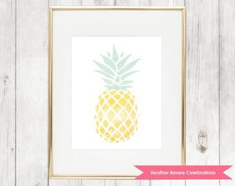 Pineapple Wall Art   Pineapple Home Decor Print   Nursery Art Instant Download