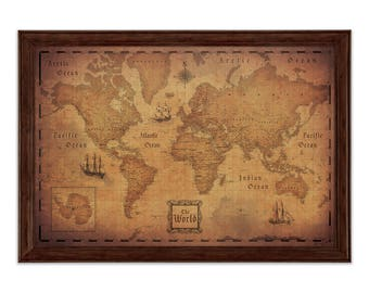 World travel map etsy antique world travel map poster golden aged style modern map gumiabroncs Images