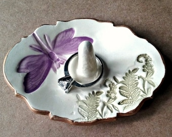 Ceramic Ring Holder Ring Dish Ring Bowl Off White Purple Dragonfly and ferns edged in gold