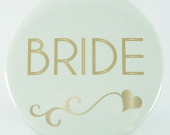 15 Team Bride Gold and Ivory Wedding Party Name Tag Buttons