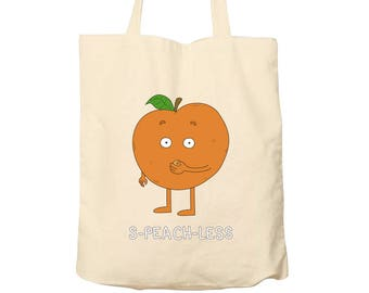Tote Bag Speachless, Food Puns, Cotton Food Bag, Bag For Life, Tote Bag Funny, Illustrated Tote