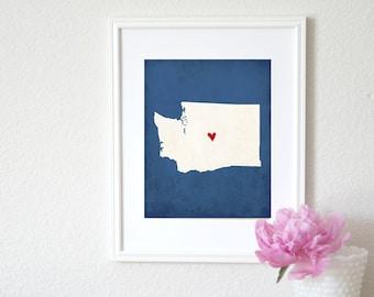 Washington State Art Silhouette Personalized Map Art 8x10 Print. Washington Map Art.