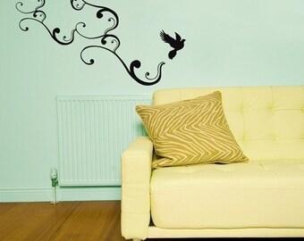 large bird flying with swirls vinyl wall decal art