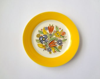 "1940s Art Deco Plate - Triumph Bermuda Pattern 6"" Bread & Butter Plate -  vintage floral print plate"