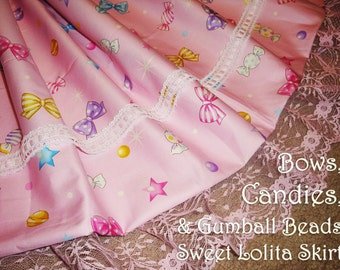 Candies, Bows & Gumball Beads Sweet Lolita Skirt - ANY SIZE