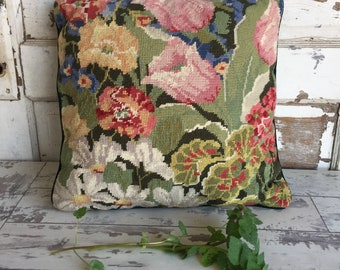 Vintage Needlepoint Pillow - Green Velvet Garden Florals