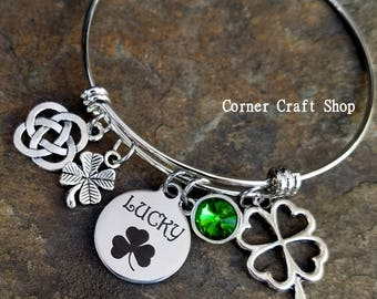 LUCKY St. Patrick's Day  Irish Shamrock 4 leaf Heart Clover Green Rhinestone Gem Charm Bangle Bracelet Celtic Knot Luck of the Irish