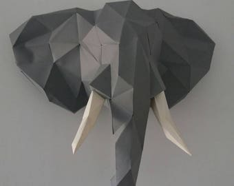 Elephant head 3d paper DIY
