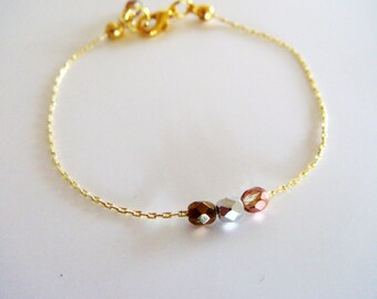 Dainty Gold Bracelet with Faceted Crystals, Tiny Bracelet, Delicate Bracelet, Minimalist bracelet, Gift under 15