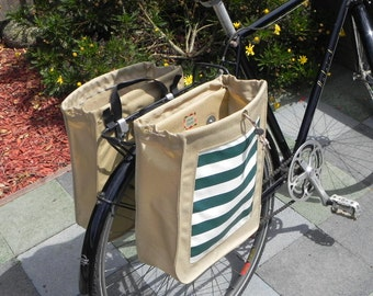 Large tan bicycle panniers/bike bags with outdoor designer fabric (set of two)