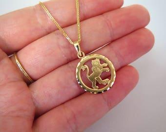 14k Leo Necklace - Leo Necklace - Gold Leo Pendant - Gold Zodiac Necklace - Gold Zodiac Pendant - Leo Jewelry - Zodiac Jewelry - Leo Pendant