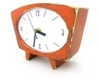 Orange Table clock, Wood Desk Clock, Wooden Vintage 60s style, Pumpkin clock, Spring Orange decor,  Mothers day gift