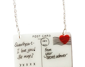 Postcard Necklace - Valentine's - Red Heart on White Love Letter - Sealed With A Kiss - I Love You, Secret Admirer, Be Mine