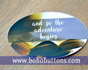 Adventure Reading Vinyl Sticker, Bookworm Sticker, Reader Decal, Car Decal, Book Lover Quote, Literary Sticker, Librarian Gift, Vintage Book