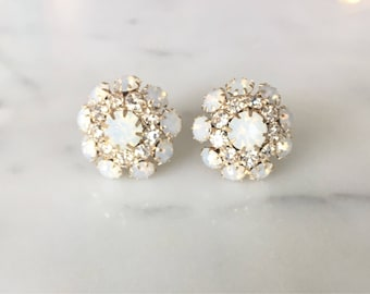 Vintage Opalescent and Rhinestone cluster Wedding Plugs 0g 00g 7/16 1/2 9/16