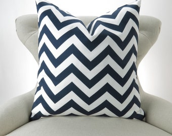 Navy Chevron Pillow cover -MANY SIZES- blue nautical geometric zigzag decorator toss throw cushion sham Premier Prints Free Ship