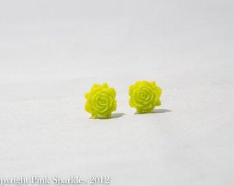 Lime Green Flower Earrings,Flower Earrings, Resin Flower Earrings