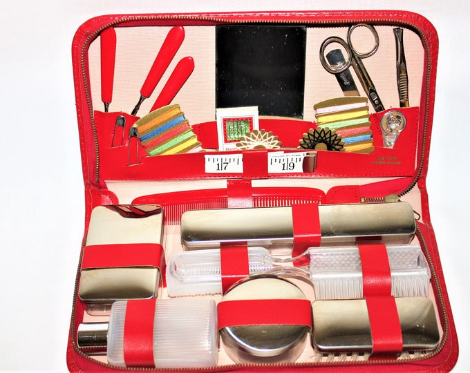 Vintage West German Leather Travel Case Manicure, Toiletry Set