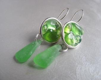 Mosaic Drop Earrings - Sea Glass Circles - Sea Glass Earrings - Kelly Green - Dangle Earrings - Sea Glass Gifts - Ocean Jewelry Gifts