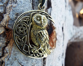 Owl Moon Pendant Pentagram Handmade Bronze Necklace Wisdom Jewelry