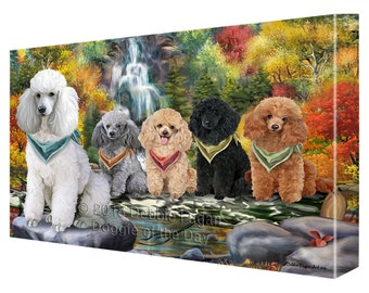 Scenic Waterfall Poodles Dog Canvas Wall Art