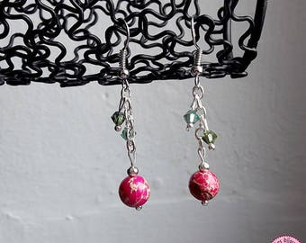 Earrings pink Jasper and Swarovski crystals
