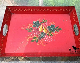 Large Red Toleware Tray, Vintage Deep Red Tray, Hand Painted Tray, Retro Kitchen Decor, Shabby Serveware